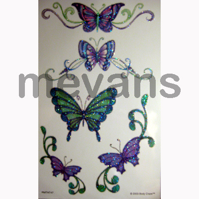 Butterfly Temporary Tattoos<r>Sandylion Body Craze